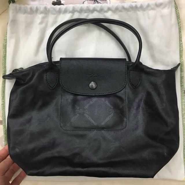 46518023be67 Longchamp LM Metal le pliage canvas small tote Bag