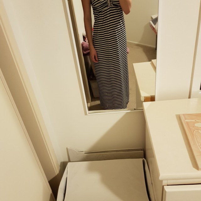 Maxi black and white stripped dress
