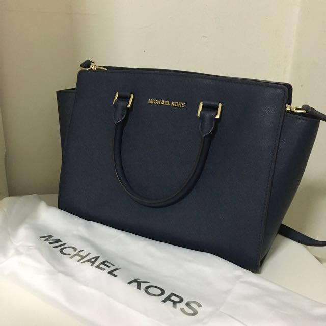 ee5574c241111 Michael Kors Selma Large Saffiano Leather Satchel Bag - Navy