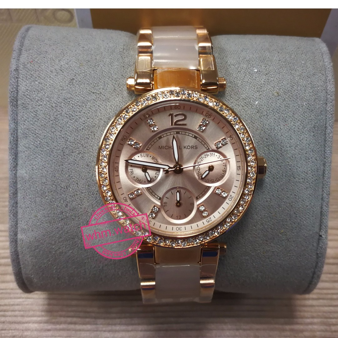 5493b782b91 Michael Kors(MK) Style MK6110 Parker Mini Multi-Function Rose Dial ...