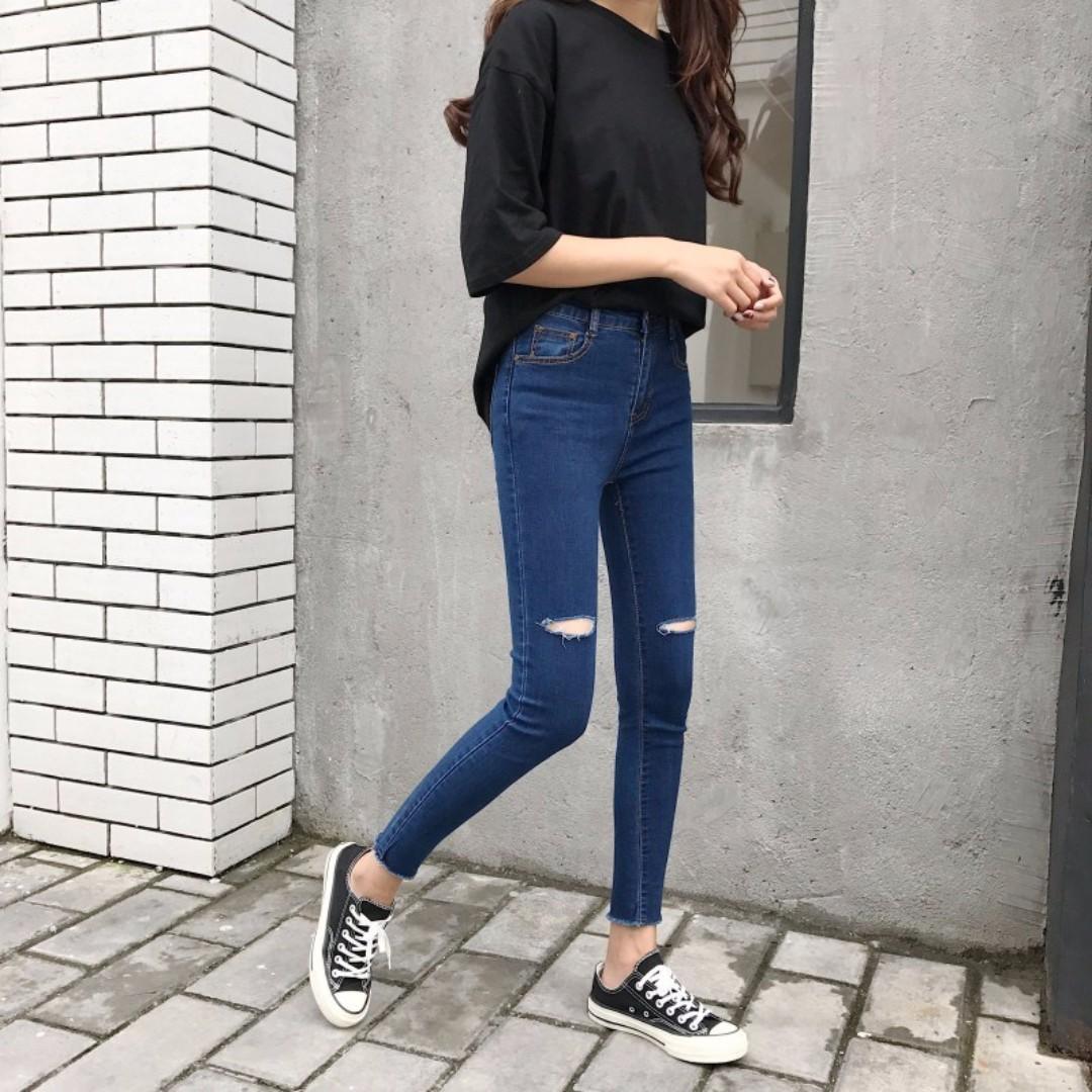Mono-coloured Slit Holes Designed Korean Style Denim Slim Skinny Jeans