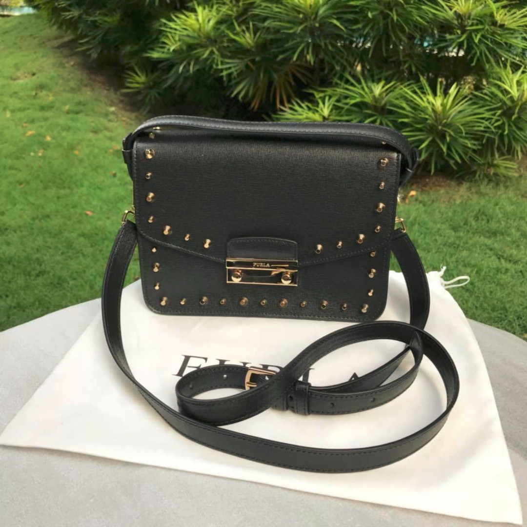 005b6253f Month End Sale] - Furla Julia Stud Bag in Onyx-Black, Women's ...