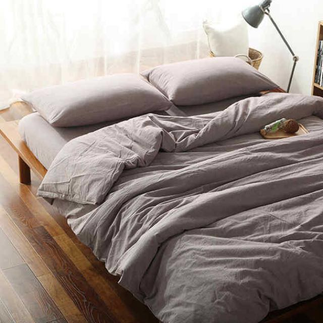 Muji Style Single Bed Cotton Bed Linen Full Set Two Pillow Cases Quilt Cover Fitted Bed Sheet Furniture Home Decor On Carousell