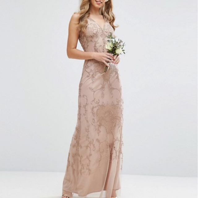 Nude Pink Embroidery Formal Dress Size 8 Womens Fashion Clothes