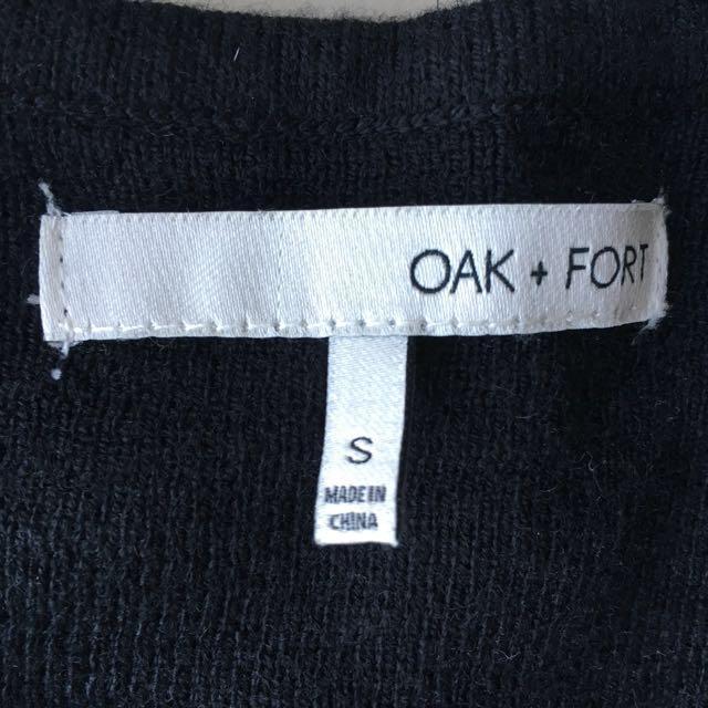 OAK + FORT black split knit tunic sweater midi dress