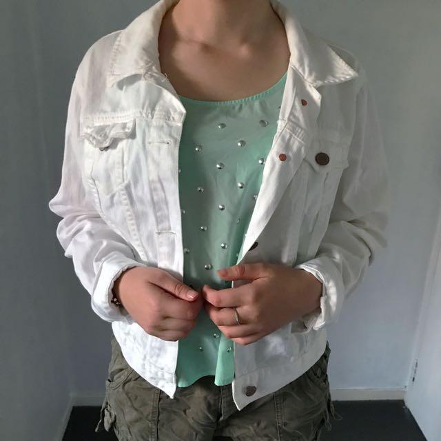 *Price Negotiable* GAP White Denim Jacket & Mint Green Sleeveless Top