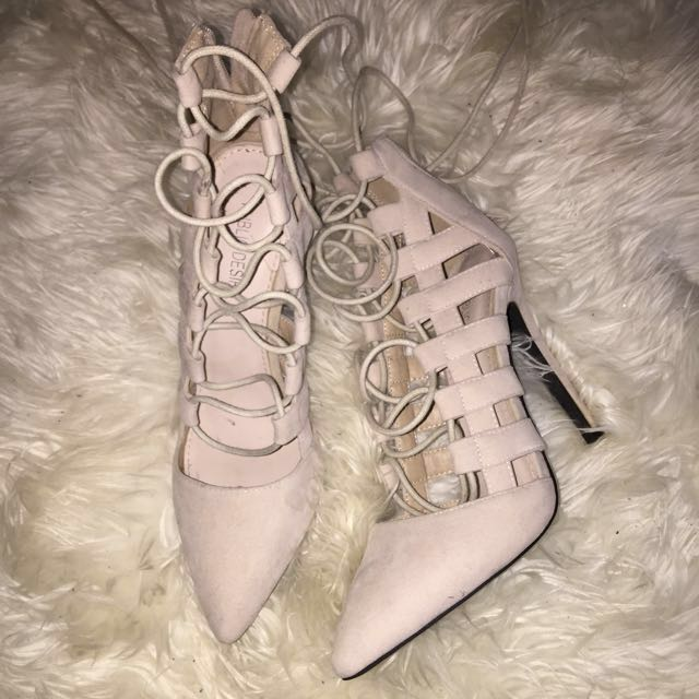 Public Desire Nude Faux Suede Lace Up Pointed Heel