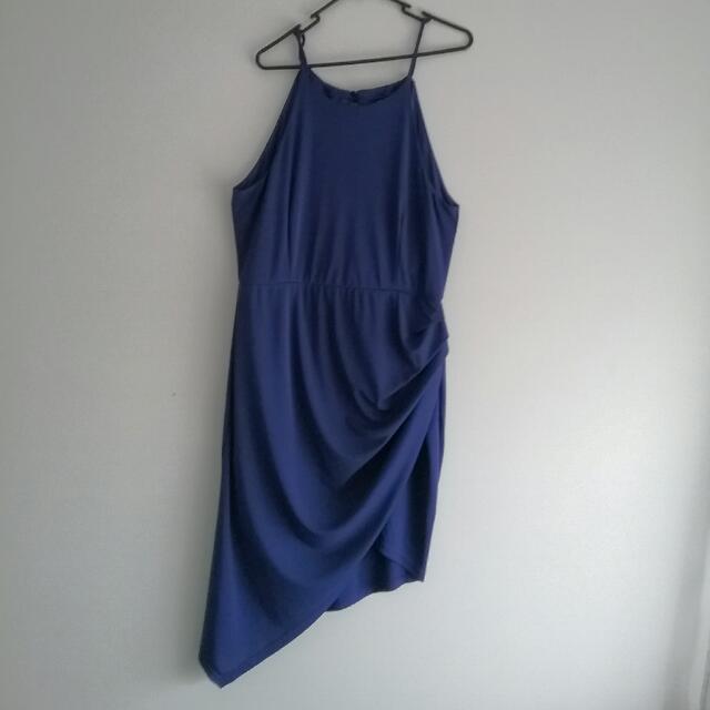 Purplish/navy Assymetric Drape Midi Dress Forecast Brand