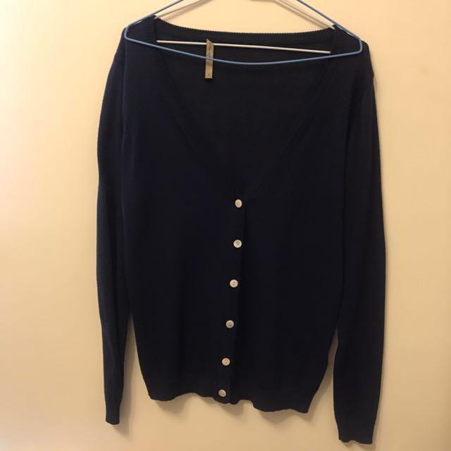 Queen shop深藍色針織外套 #外套特賣