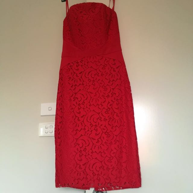 Red Strapless Lacy Dress