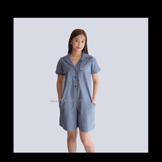 RE-PRICED! Black Buttons Chambray Romper