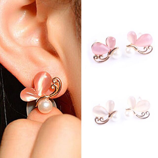 Rose/Butterfly pearl and rhinestone stud