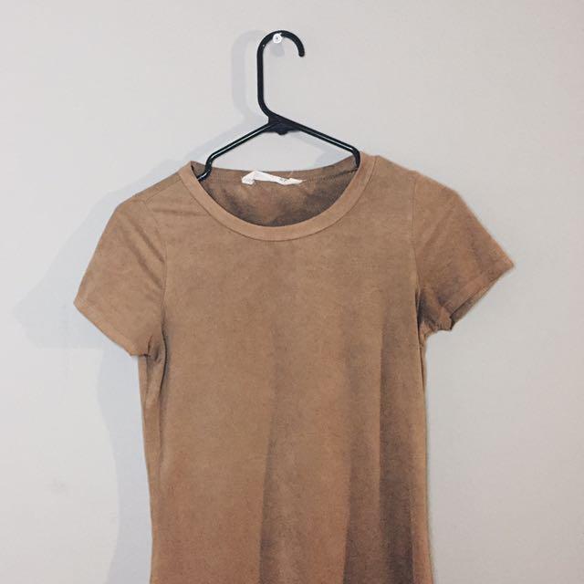 SUEDE T SHIRT DRESS