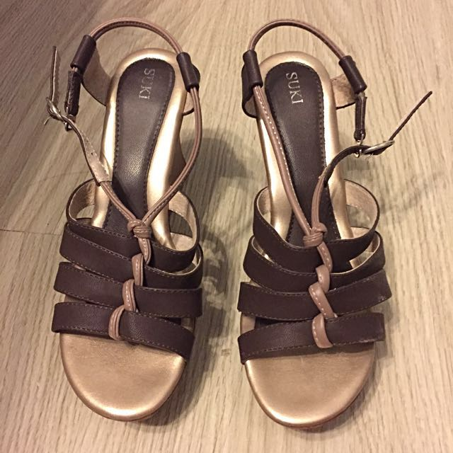 Suki Brown Wedge Sandals