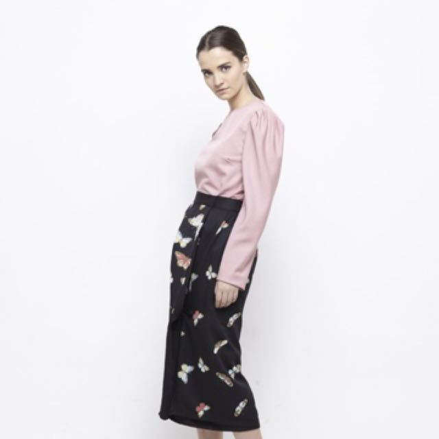 Top/blouse - puff long sleeve , relaxed fit , Tulip skirt - Butterfly prints