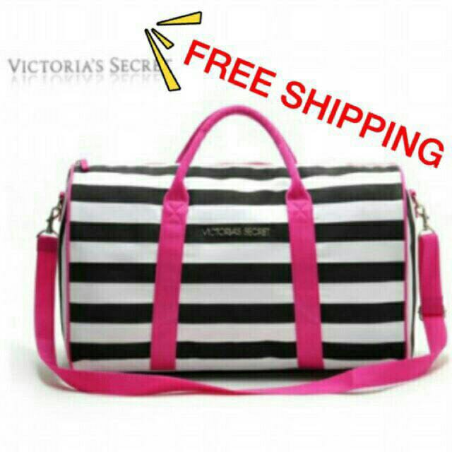 Victoria secret stripe travel bag