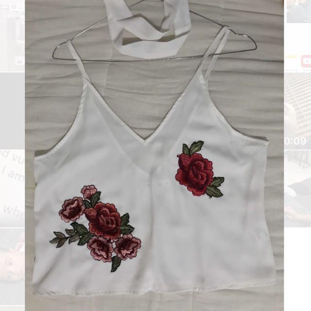 White Floral print cropped shirt