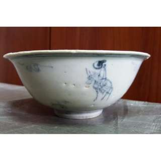 Genuine Ming Dynasty blue and white Gao Shi travel porcelain bowl 1,  used for study Ming Dynasty blue and white porcelain, 真品明代青花高仕出游瓷碗 1, 供学习研究明代青花瓷器用