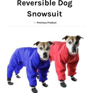 Muttluks Reversible Dog Snowsuit - red/blue, size 14