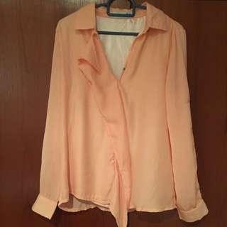 Smooch orange shirt TOP blouse small
