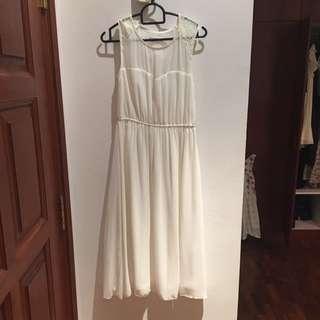 Agneselle dress white midi smal