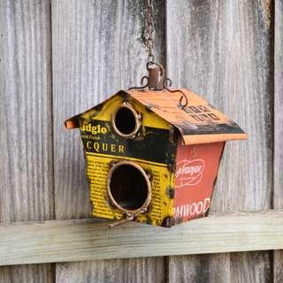 Reclaimed Metal Industrial Decorative Hanging Birdhouse