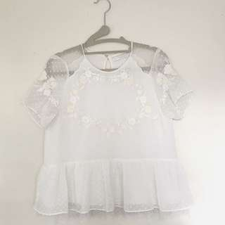 Zara Short Sleeved Embroidered Blouse