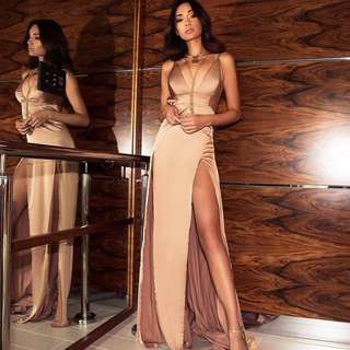Gold Nude Formal Dress