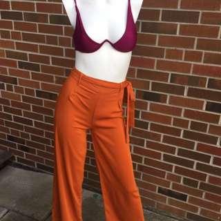 Orange high waist pants