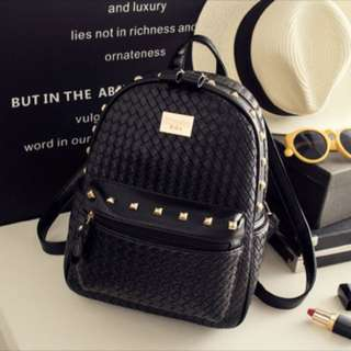 Cute small black leather stud bag pack
