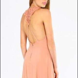 Tobi peach crochet skater dress (s)