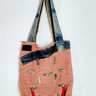 Stripes Canvas Shoulder Bag by Horo