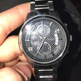 Authentic Silver Guess watch. (Men's)