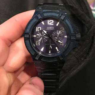 Authentic navy-blue Guess watch. (Men's)