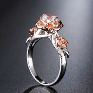 Natural Topaz Rose Flower Crystal Engagement Ring Beauty And The Beast Gemstone 925 Sterling Silver Band