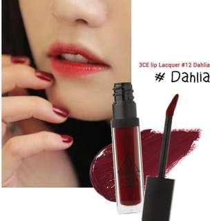 3CE lip lacquer in DAHLIA