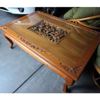 Indonesian Teak Coffee Table with carving insert and glass top