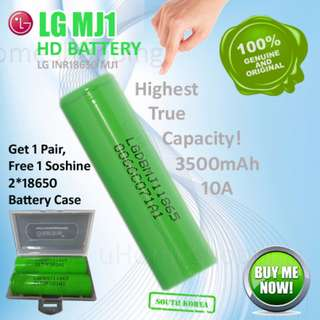 Genuine LG MJ1 3500mAh, 10A 18650 Flat Top High Drain Battery