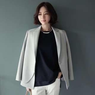 韓國代購寬鬆中長款雪紡西裝外套
