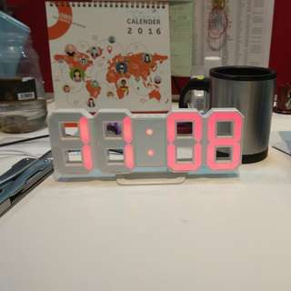 LED Wall Clock/Desktop Red Display