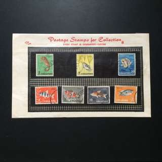 "Stamp - Singapore 1962 - Fish Series with Stamp Holders and ""Postage Stamps for Collection"" stamp collecting sheet used in 1980s"