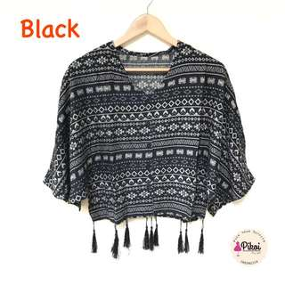 Atasan Batwing / Baju Etnik / Boho style / bohemian / baju tassel murah / 980