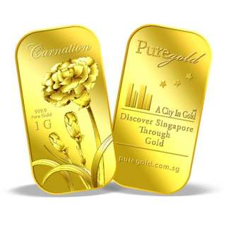 Singapore Pure Gold - 1g Carnation Gold Bar