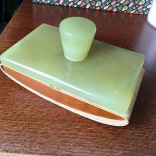Vintage Dunhill Rolling Ink Blotter in Green Agate