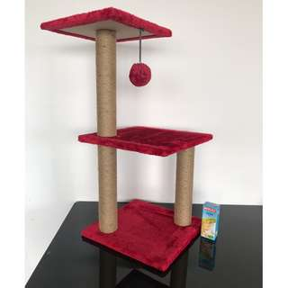 NEW (wine red)play toy scratch post mini condo tree cat kitten