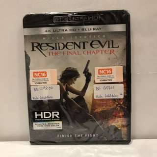 RESIDENT EVIL THE FINAL CHAPTER 4K ULTRA HD + BLU RAY