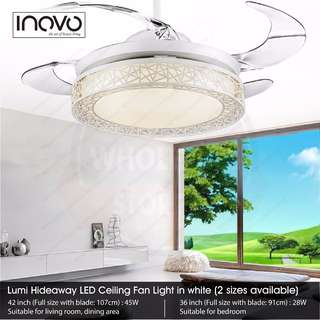 INOVO Lumi Hideaway Ceiling Fan Light with LED Light for living, dining and bedroom at $250 ONLY (Retail $450) ( A53-white/A55-black ) not old design from fanco, crestar, kdk
