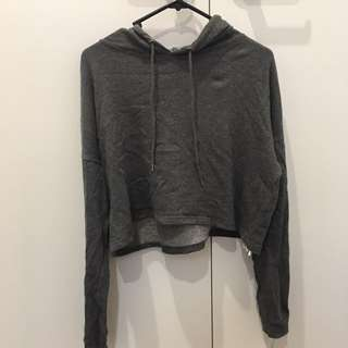 Cotton on grey cropped hoodie