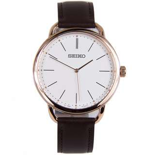Brand New Seiko SUR234P1 SUR234P SUR234 Quartz Analog 100% Original Leather Strap White Dial Mens Casual Watch w/ Warranty