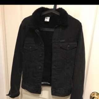 H&M 刷毛挺版黑色牛仔羔毛外套 xs